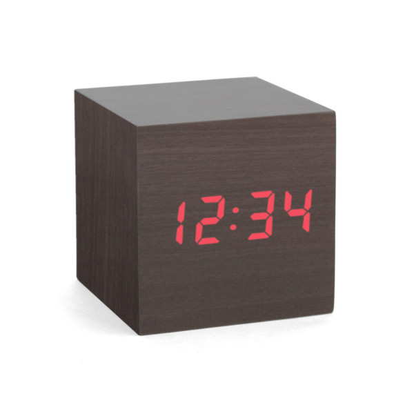 Alarm Clock Wood Cube dark
